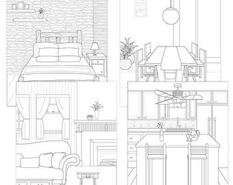 4 Pages Deal - Adult Coloring Book Interior Design