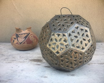 Mexican Tin Punched Metal Hanging Lantern Patio Decor, Rustic Candle Holder Garden Decor