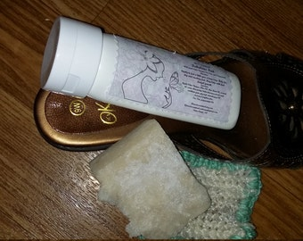 Foot Lotion,bar and Scrubbie, Fabulous Feet.,new name, improved formula, a Natural way to treat your feet, paraben free