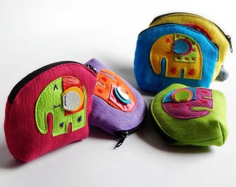 25 Elephant coin purses mixed color