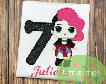 LOL Doll Rocker Girl Birthday Shirt- Embroidered and Personalized - Choose your number
