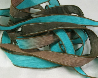 Hand Dyed Silk Ribbons - Crinkle Silk Jewelry Bracelet Fairy Ribbon - Quintessence - Turquoise and Leather