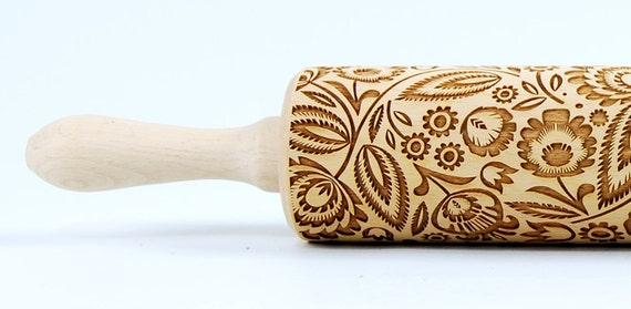 Polish folk pattern I, folk flowers. Embossing Rolling pin, engraved rolling pin