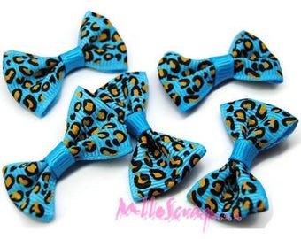 Set of 5 bows leopard blue embellishment scrapbooking card making *.