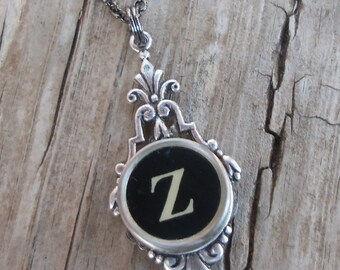 Letter Z Necklace, Typewriter Key Jewelry,Writer Gift Idea, Vintage Typewriter Necklace, Anniversary Necklace, Vintage Necklace, Art Deco ,