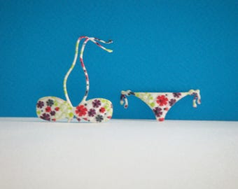 Whole swimsuit paper napkin collage flowers