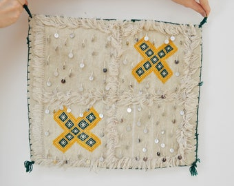 Vintage Moroccan Handira Embroidered and Sequin Pillow