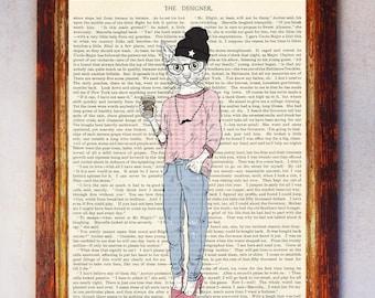 Female Hipster Cat Art Print, Cat Wall Art, Book Art Cat Print, Animal Print, Cat Artwork, Cat Poster, Digital Download