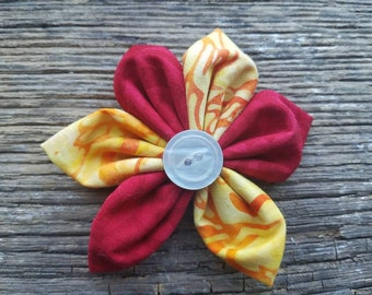 Red and yellow, flower dog collar flower accessory small