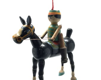Antique Toy, Marionette, Horse, Toy Soldier, Puppet, Primitive, Jointed, German, c1900