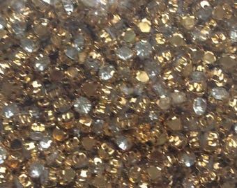 Set of 1440 rhinestones 3 tooth has sew Gold 5mm