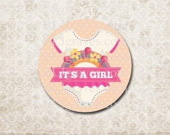 Baby Shower Stickers It's A Girl Stickers Labels Party Favor Treat Bag Sticker SB024