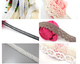 "10 Yards Cotton Ribbon lace Trim Dress Lace Trim Cotton Cluny Lace Embroidery 32mm 1 1/4"" 30mm 1 3/16"" 10mm 3/8"" 20mm 3/4"" 56mm 2 1/4"""