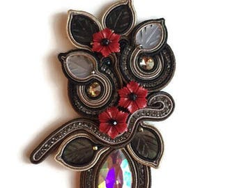 Gorgeous big soutache brooch or pendant