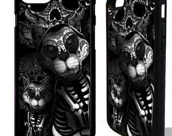 Cat kitten sugar skull tattoo day of the dead cats rubber protective cover for samsung galaxy s5 s6 s7 s8 s9 plus edge phone case