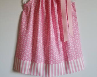 Pillowcase Dress with Anchors Nautical Dress Summer Dresses Anchors Dress Pink and White Ocean Theme Party Toddler Dresses Baby Dresses