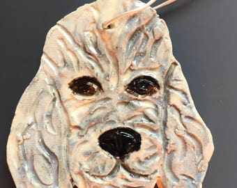 Ceramic Labradoodle Dog Holiday Christmas Tree Ornament
