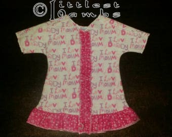 Micro-Preemie Ruffled Gown - Mommy and Daddy