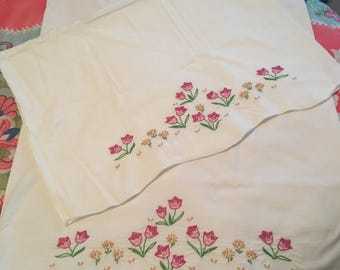 Enchanting  embroidered pink tulip flowers pillowcase
