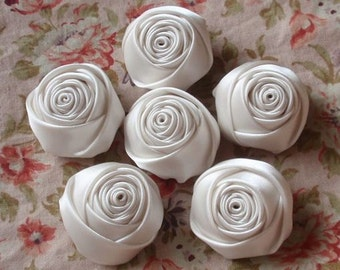 6 Handmade Rolled Roses (1-1/4 inches) in Cream MY-014 -04 Ready To Ship