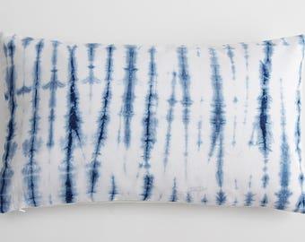 Tie dye Shibori Blue White Nautical Textile Batik Hand dyed Indigo Pillow Case
