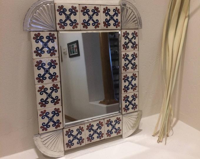 Spanish Colonial Style Punched Tin Mirror, Talavera Tile Border, Handmade