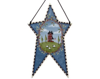 Star Shaped Wall Art with Saltbox House, Sheep, Handpainted Wood, Hand Painted Primitive Home Decor Wall Hanging, Tole Decorative Painting