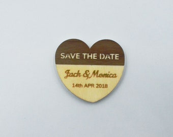 Save The Date Magnets - Personalised Wooden Magnets - Walnut