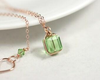 Rose Gold Peridot Necklace Wire Wrapped Jewelry Handmade Light Green Swarovski Crystal Necklace Swarovski Crystal Jewelry Rose Gold Necklace