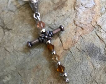 Cross necklace glass beads