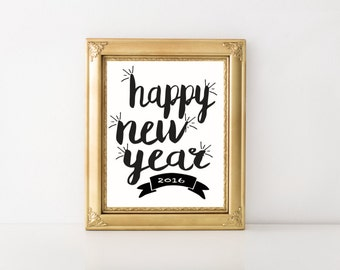 Happy New Year 2016 Printable Wall Art