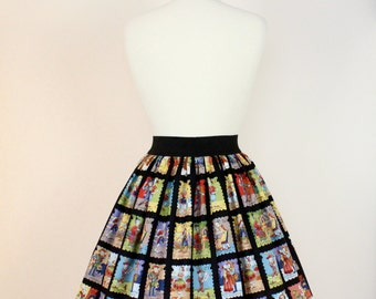 Black Day of the Dead Loteria Skirt