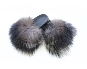 Silver Fox Fur Slides, Fur Slippers F851
