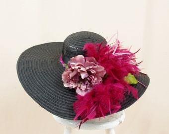 8fa68634140 Mauve and Black Sequin Hat   Black Hat   Kentucky Derby Hat   Black Floppy  Hat