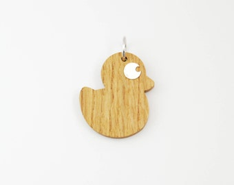 Wood Silver Big Duck Charm for Necklace-Jewelry  Gift For Girls/Women/Friends