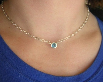 Swiss Blue Topaz  and Sterling Tinsel Necklace