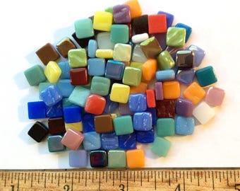 100 8mm Multi Color Mix MINI SQUARES//Recycled Glass Mosaic Tiles//Mosaic and Craft Supplies
