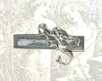 Mermaid Tie Clip Vintage Inspired Sea Siren Inlaid in Hand Painted Silver Enamel Nautical Fantasy Inspired Tie Bar Accent Custom Color Optio