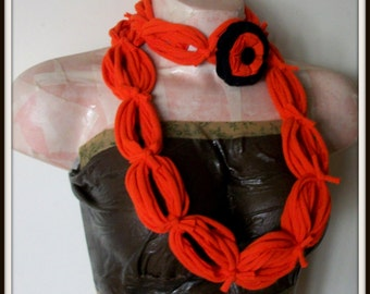 All Wrapped Up Orange Infinity Looped T shirt Jersey Scarf