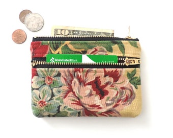 Coin Purse Wallet Double Zipper Pouch Botanical Floral Denim