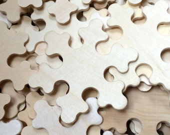 10 Wood Snowflakes - Unfinished Wooden Craft Supplies