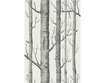 Cole & Son Woods Wallpaper in Onyx/White Original / Priced and Sold By the Double Roll