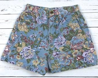 Vtg 90s One Step Up Retro Floral Denim High Waisted Shorts Womens 26