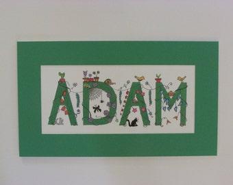 """Whimsical """"I Spy"""" kid's names. Green """"Adam."""" 16.5""""x9.5"""""""