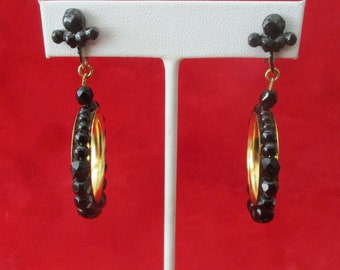 Pair of French Jet Bead Clip Screw-Back Earrings