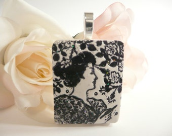 Japanese Woman Face Pendant Apple Blossoms, Oriental Woman, Asian Woman, Optional Necklace, Black and White Jewelry, handmade polymer clay