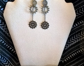Steampunk inspired antique gold layered Sprocket dangle earrings