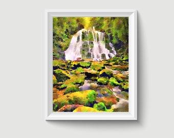Waterfall Watercolor Painting Art Printable Q95