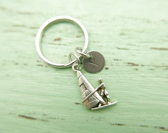 sailboat initial Keychain personnalized stainless steel monogram Keyring