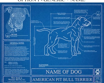Personalized American Pit Bull Terrier Blueprint / Pit Bull Art / Pit Bull Wall Art / Pit Bull Gift / Pit Bull Print